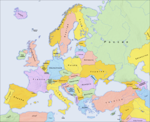 Europe countries map local lang 2